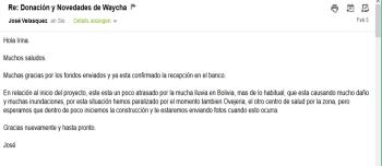 2014-02-05 Email José Überweisung und Herausforderung Regen
